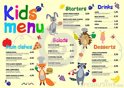 cute colorful meal kids menu template with cute little