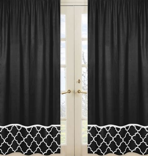 Black And White Lattice Curtains Black Window Treatment Panels For Black And White Trellis Collection Set Of 2 Only 54 99