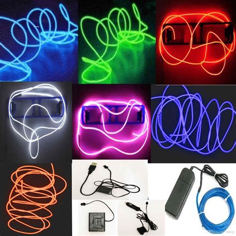 5m Flexible Neon Led Light Glow El Wire String Strip Rope Glow String Lights