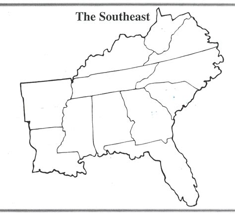 Southeastern United States Outline Map by Southeastern United States Outline Map