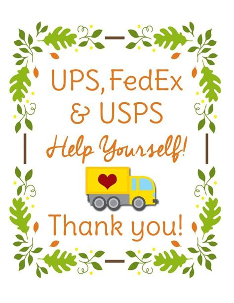 christmas gift for ups driver free printable sign for delivery drivers free printables for the home printables
