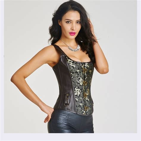 Steel Boned Brocade Halter Leather Retro Steunk Fullbust Corset Hp8510 Hp8510 11 90 Wholesale Steel Boned Brocade Halter Leather Retro Steunk Fullbust Corset Cf6009