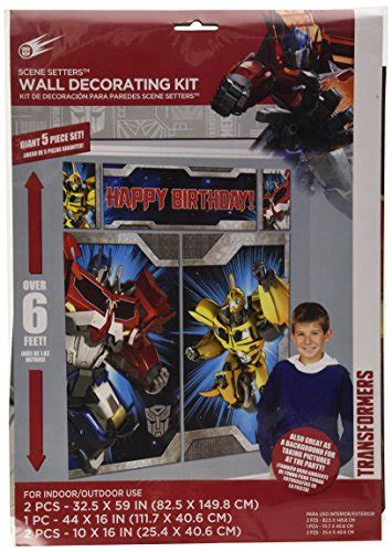 amscan mighty transformers birthday setters wall decorating kit 5 pack 59 quot x 65