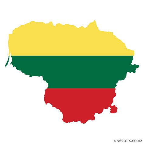 flag vector map  lithuania vectors