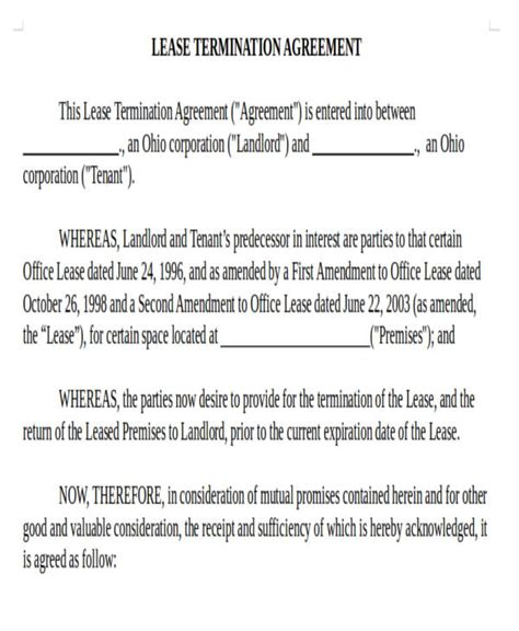 Commercial Lease Termination Agreement by 41 Commercial Agreement Formats Templates Pdf Doc
