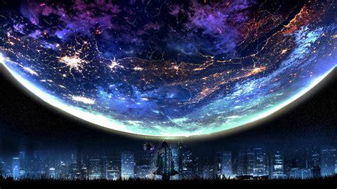 planet night city landscape scenery anime