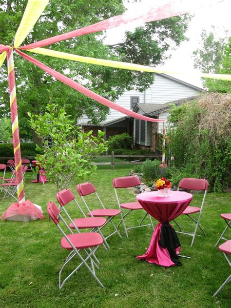 outdoor party graduation parties red and yellow outdoor party