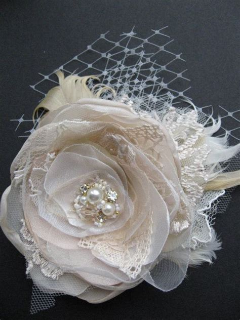 vintage wedding fascinator bridal flower hairpiece burlap rustic hair clip lot lace silver