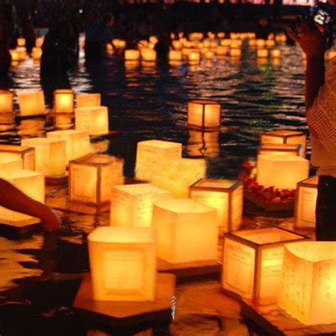 How To Make A Floating Lantern Out Of Paper - square paper wishing floating river candle