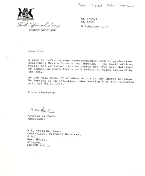 A Letter From An Employer For The Embassy Archive Apartheid In South Africa Letter From The South Embassy To The