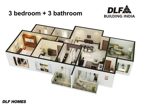 3bhk house design plans dlf regal gardens dlf garden city sarthak estates