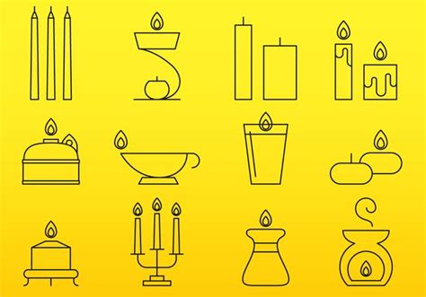 candele on line candles line icons free vector stock
