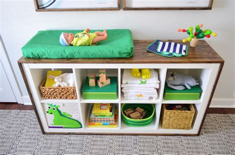 An Easy Ikea Hack Bookcase To Wood Wrapped Changing Table Bookshelf Changing Table