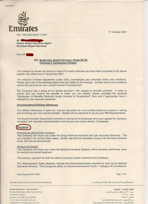 Offer Letter Uae Labor Insurance About Emirates Airline Management