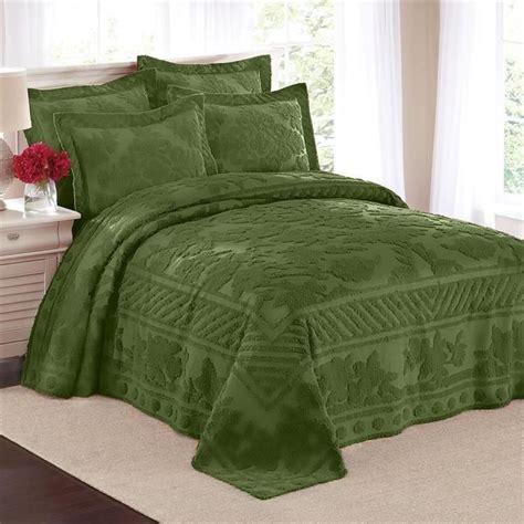 Leaf Pattern Bedspread | 100 cotton textured leaf pattern chenille bedspread shams