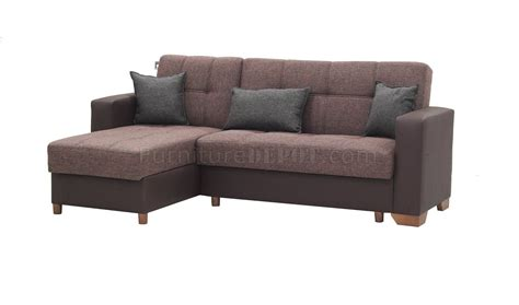 lego sectional sofa convertible in brown microfiber by