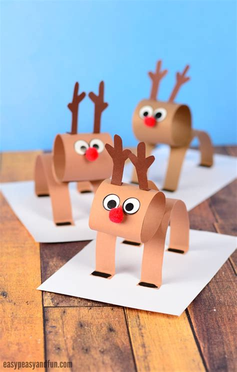 Reindeer Paper Crafts - 3d construction paper reindeer easy peasy and
