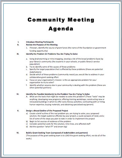 Community Meeting Agenda Template Printable Meeting Agenda Templates Meeting Agenda Outline Template