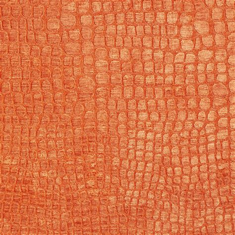 orange upholstery fabric bright orange alligator print shiny woven velvet