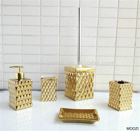 Gold Bathroom Accessories Gold Coloured Bathroom Accessories Ceramic Gold Bath Set Buy Polyresin Bathroom Accessories