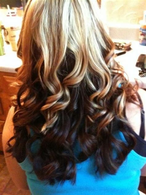 hairstyles dark on top light underneath blonde on top brown underneath curly blonde on top with