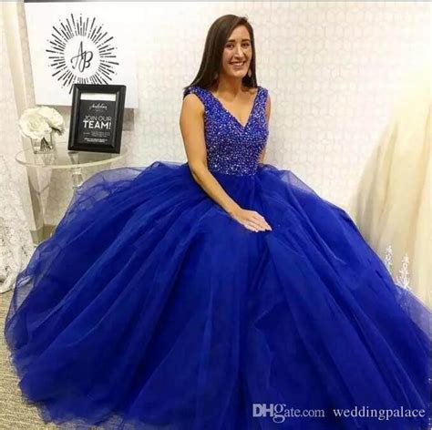 royal blue ball gown quinceanera dress  neck sleeveless