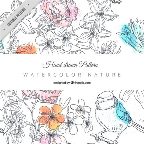 nature pattern vector free hand drawn nature pattern vector free download