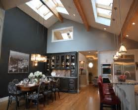 Kitchen Lighting On Vaulted Ceilings Dinning Room Kitchen With Vaulted Ceiling And Skyroof