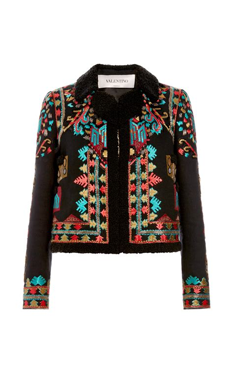 embroidery jacket lyst valentino cotton canvas jacket with multi color