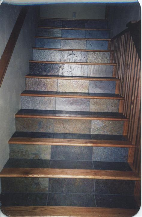 wood stair treads tile inlay kendall s custom wood floors inc red oak and slate tile