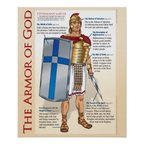 armor of god diagram armor of god wall chart poster zazzle