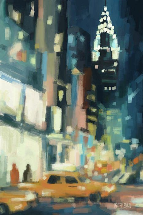 Painting In Nyc by View Across 42nd New York City Cityscape At