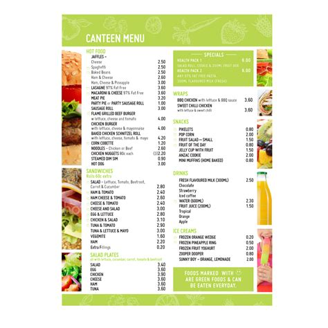 canteen card templates playful school menu design for a company by