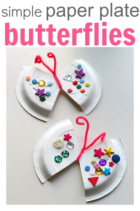 Paper Butterfly Craft - easy paper plate craft butterfly no time for flash cards