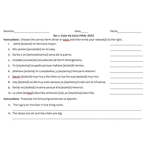 Ser Estar Worksheet Answers by Estar Worksheet Free Worksheets Library And