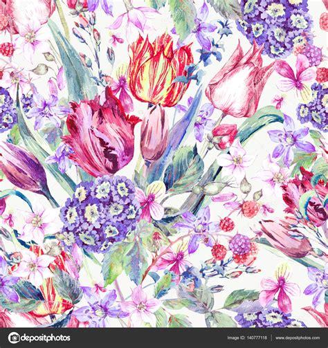 pattern fiori reticolo senza giunte dell acquerello di fiori vintage