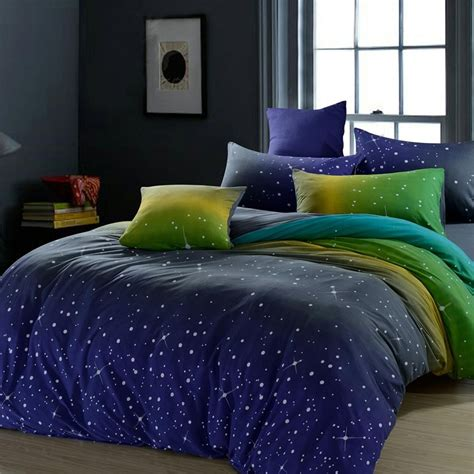 midnight blue comforter set midnight blue green and yellow dark knight scene star