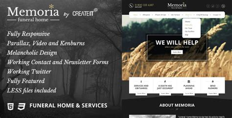 Memoria Funeral Home Html Template By Createit Pl Themeforest Funeral Home Website Templates