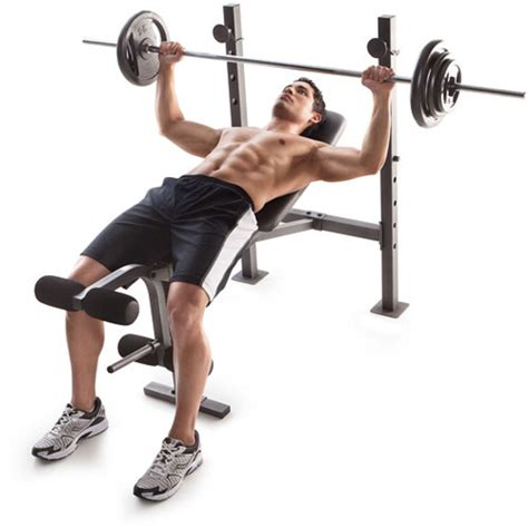 bench press set with weights golds gym bench press weights lifting barbell exercise
