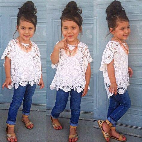 Set Lace Denim Minnie toddler clothes lace blouse tops vest denim 3pcs set cloths