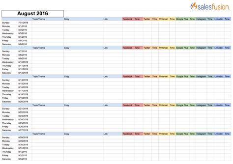 Content Management Calendar Template