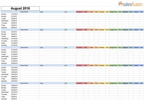 social media posting calendar template social media content calendar template salesfusionsocial