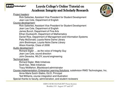 online tutorial on academic integrity ppt loyola college s online tutorial on academic