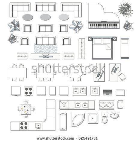 Kitchen Floor Plan Symbols Appliances Set Top View Interior Icon Design Stock Vector 625491731