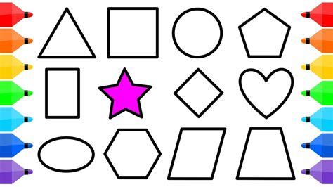colored shapes shapes drawings learning basic shapes coloring pages