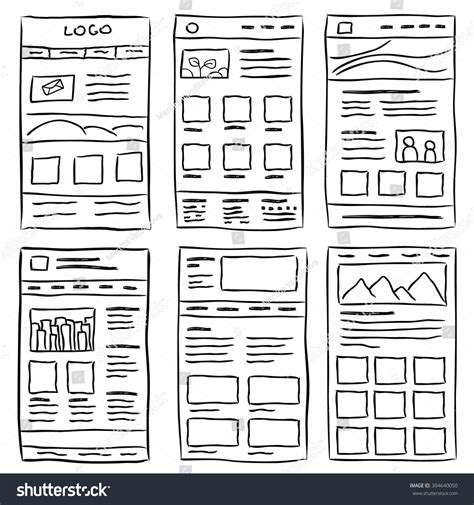 Hand Drawn Website Layouts Doodle Style Stock Vector 394640050 Shutterstock Sketch Website Template Free