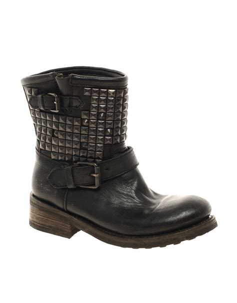 studded boots ash titan studded leather boot in black lyst
