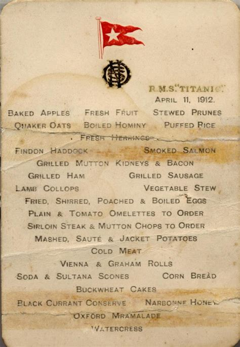 titanic menus titantic menu titanic menu southton city council