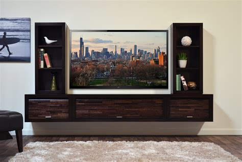 modern wall mounted floating tv stand entertainment console