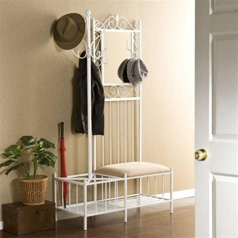 Entry Coat Bench Yeni Moda Ferforje Beyaz Portmanto Modeli